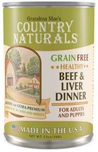 Grandma Mae's Country Naturals Grain-Free Healthy Beef & Liver Wet Dog Food, 13-oz