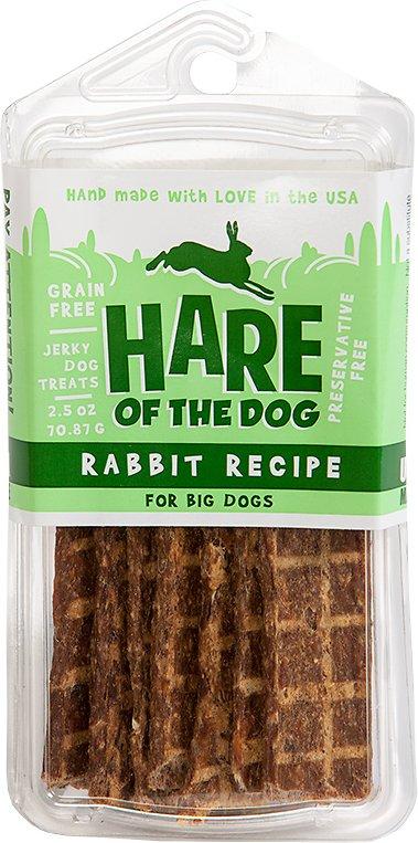 Hare of the Dog Big Dog 100% Rabbit Jerky Dog Treats, 2.5-oz pack