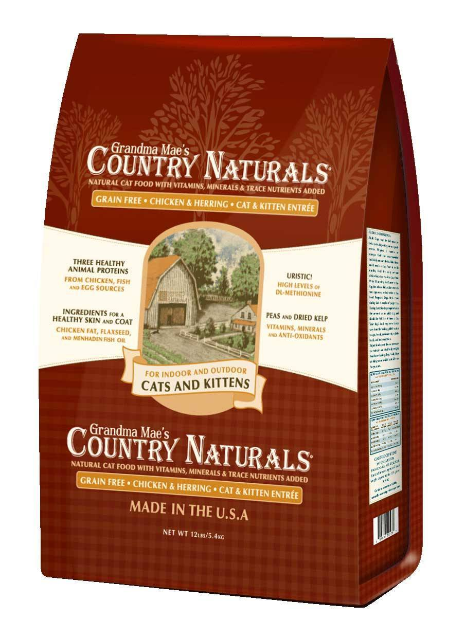 Grandma Mae's Country Naturals Grain-Free Cat & Kitten Entrée Dry Cat Food, 12-lb