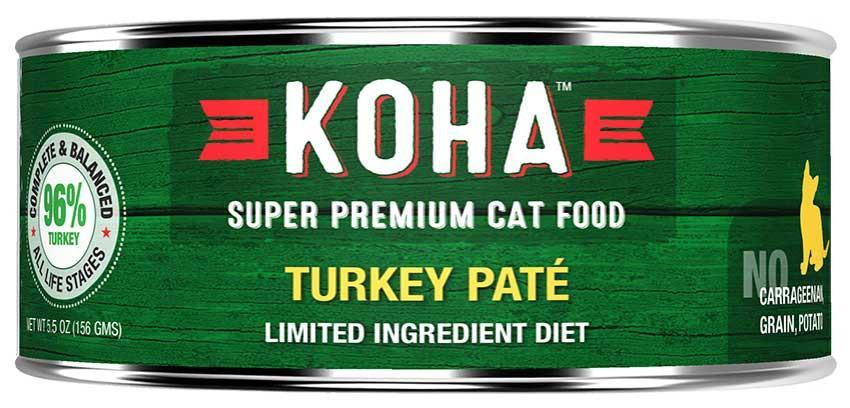 KOHA Canned Cat Food - 96% Turkey Pate - 5.5oz