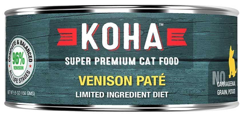 KOHA Canned Cat Food - 96% Venison Pate - 5.5oz