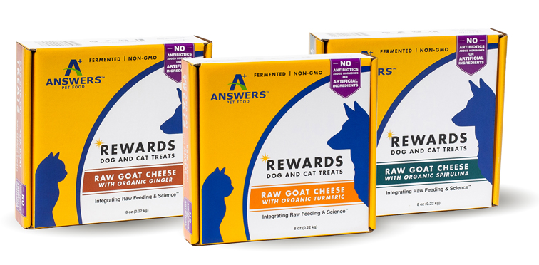Answers Rewards Raw Goat Cheese with Organic Turmeric Grain Free treats for Cats and Dogs, 8-oz