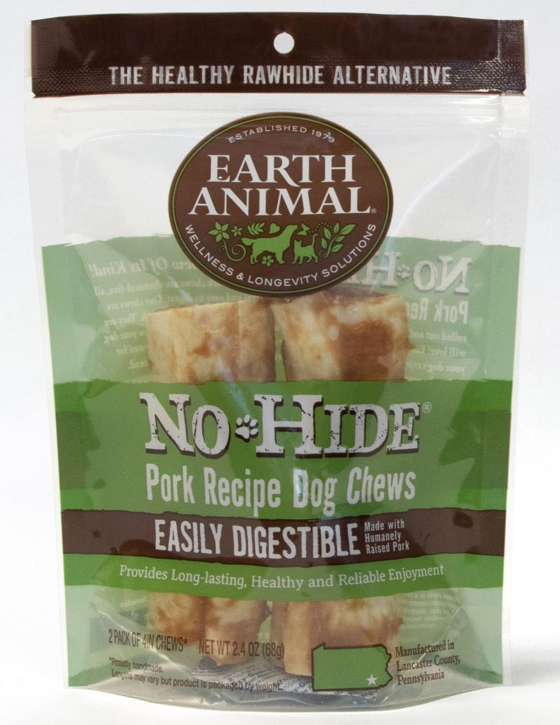 Earth Animal No-Hide Pork Chew Dog Treat, 4-in, 2-pk
