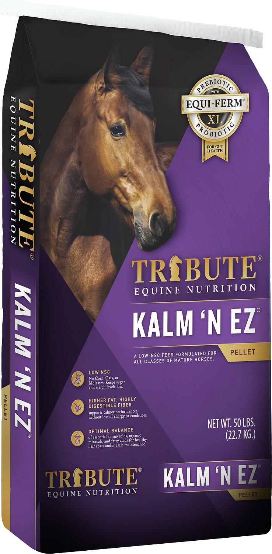 Tribute Equine Nutrition Kalm N' EZ Low-NSC, Molasses-Free Horse Feed, 50-lb bag