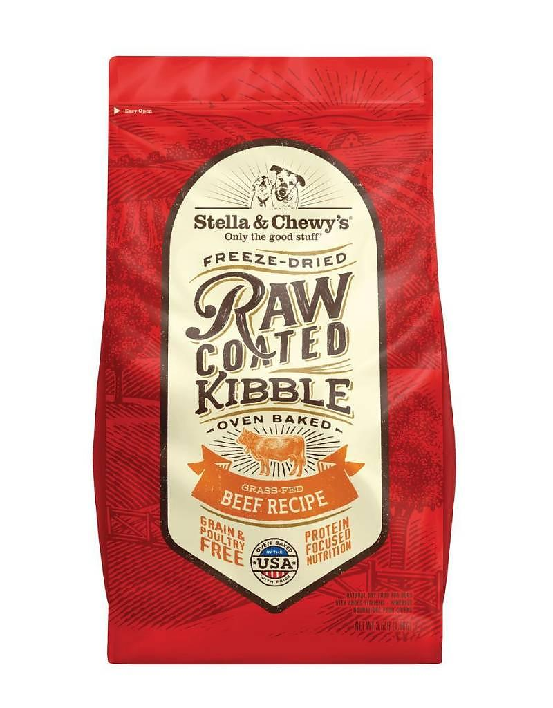Stella & Chewy's Raw Coated Kibble Grass-Fed Beef Recipe Grain-Free Dog Food, 10-lb