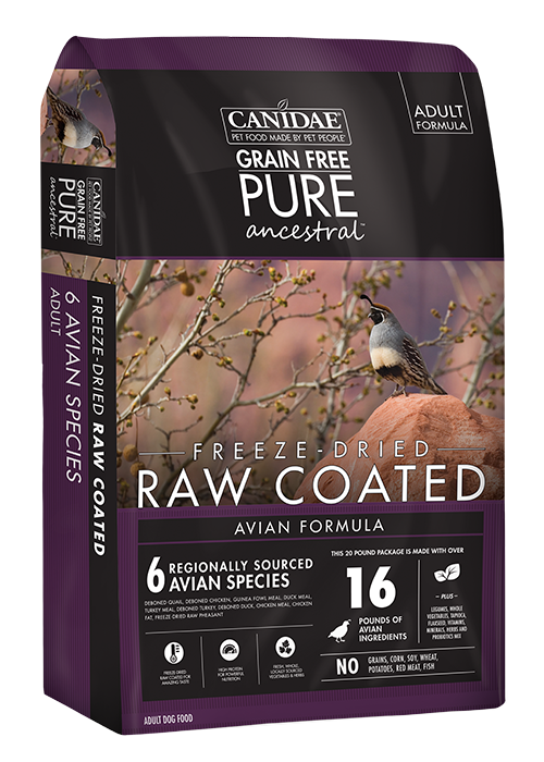 Canidae Grain Free Pure Ancestral Avian Formula Raw Coated Dry Dog Food With Quail, Chicken & Turkey