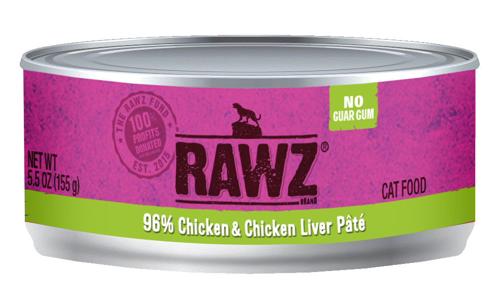 RAWZ Cat 96% Chicken & Chicken Liver Pate, 5.5-oz