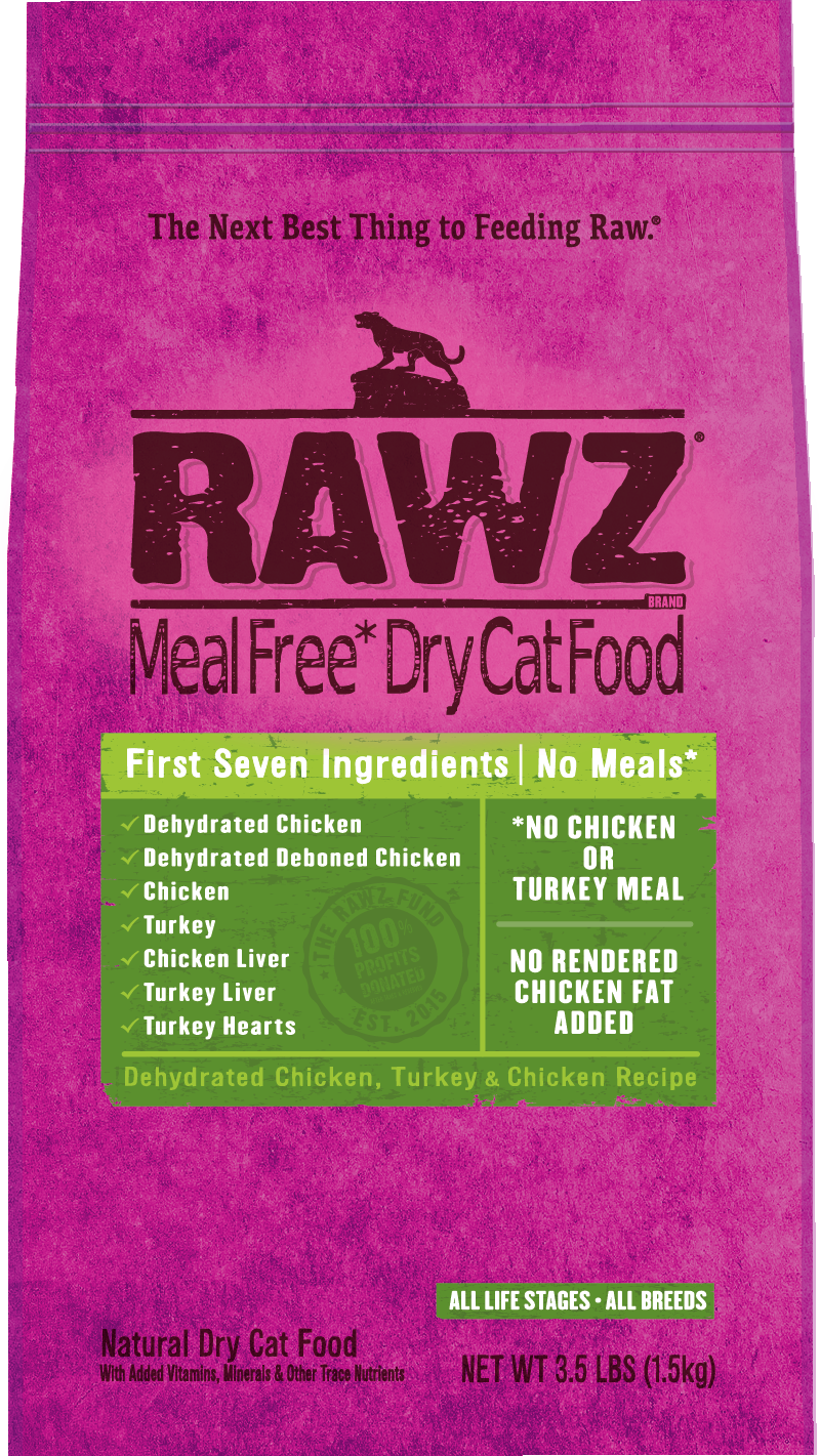 Rawz Meal Free Dry Cat Food Dehydrated Chicken, Turkey & Chicken Recipe