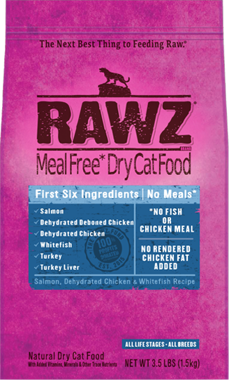 RAWZ Meal Free Dry Cat Salmon Chicken Whitefish Recipe, 3.5-lb