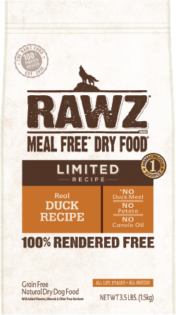 RAWZ Meal Free Dry Dog Food Limited Ingredient Diet Duck Recipe, 3.5-lb