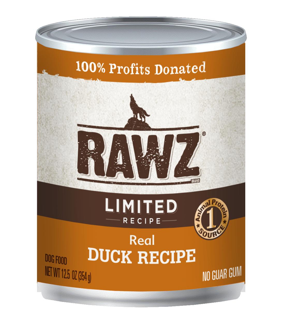 RAWZ Dog Wet Food Limited Ingredient Diet Duck Recipe, 12.5-oz