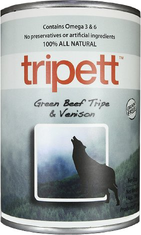 PetKind Tripett Green Beef Tripe & Venison Grain-Free Canned Dog Food, 13-oz