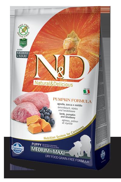 Farmina Natural & Delicious Pumpkin Lamb & Blueberry Adult Medium & Maxi Puppy Dog Dry Food Formula, 5.5-lb