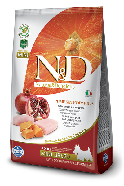 Farmina Natural & Delicious Pumpkin Chicken & Pomegranate Adult Mini Dog Dry Food Formula, 15.4-lb