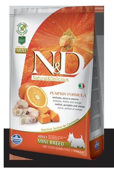 Farmina Natural & Delicious Pumpkin Codfish & Orange Adult Mini Dog Dry Food Formula, 15.4-lb