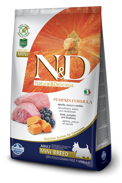 Farmina Natural & Delicious Pumpkin Lamb & Blueberry Adult Mini Dog Dry Food Formula, 5.5-lb