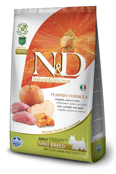 Farmina Natural & Delicious Pumpkin Boar & Apple Adult Mini Dog Dry Food Formula, 15.4-lb