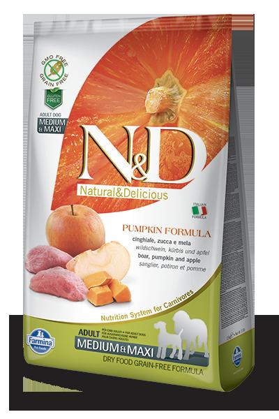 Farmina Natural & Delicious Pumpkin Boar & Apple Adult Medium & Maxi Dog Dry Food Formula, 5.5-lb