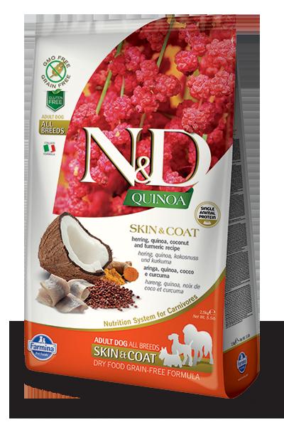 Farmina Natural & Delicious Quinoa Functional Skin & Coat Herring Dry Dog Food Formula, 15.4-lb