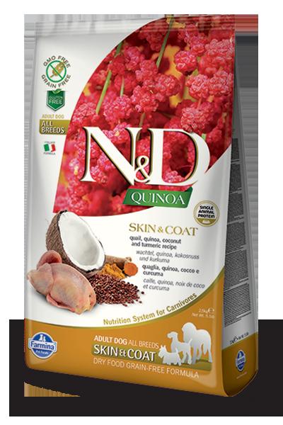 Farmina Natural & Delicious Quinoa Functional Skin & Coat Quail Dry Dog Food Formula, 5.5-lb