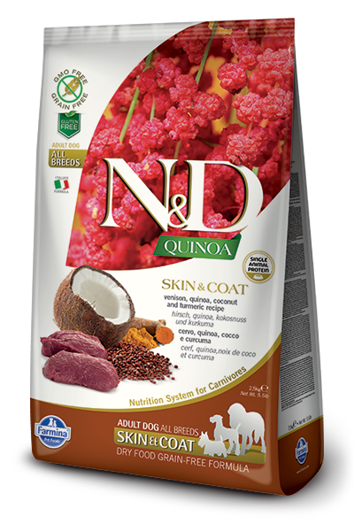 Farmina Natural & Delicious Quinoa Functional Skin & Coat Venison Dry Dog Food Formula, 5.5-lb