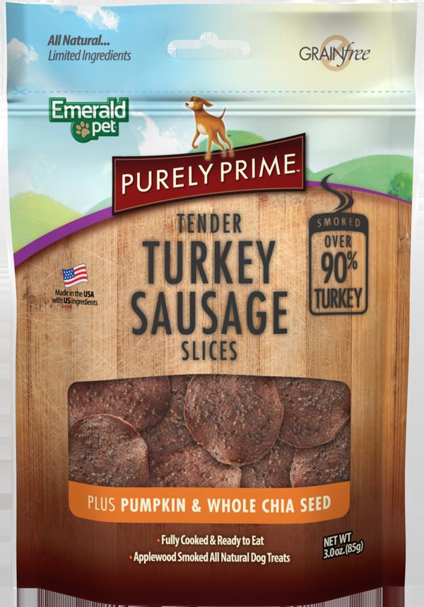 Emerald Pet Purely Prime Sausage Turkey & Pumpkin Slices Dog Treats, 3-oz