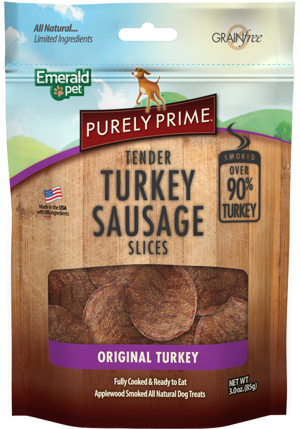 Emerald Pet Purely Prime Sausage Original Turkey Slices Dog Treats, 3-oz