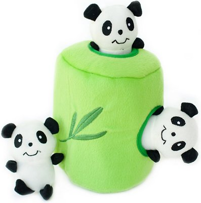 ZippyPaws Burrow Squeaky Hide and Seek Plush Dog Toy, Panda 'n Bamboo, Puzzle Set