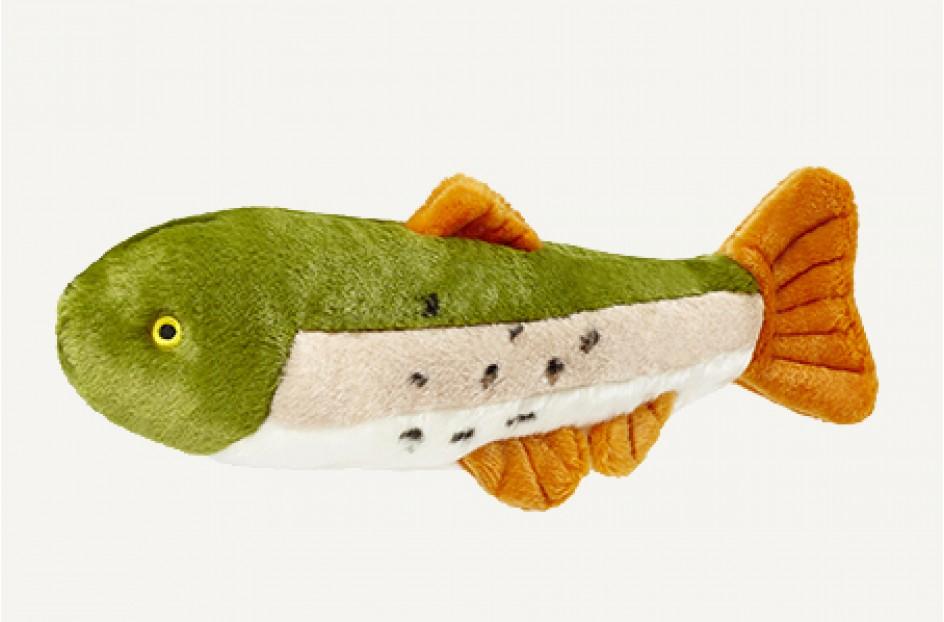 Fluff & Tuff Ruby Rainbow Trout Dog Toy, 14-in