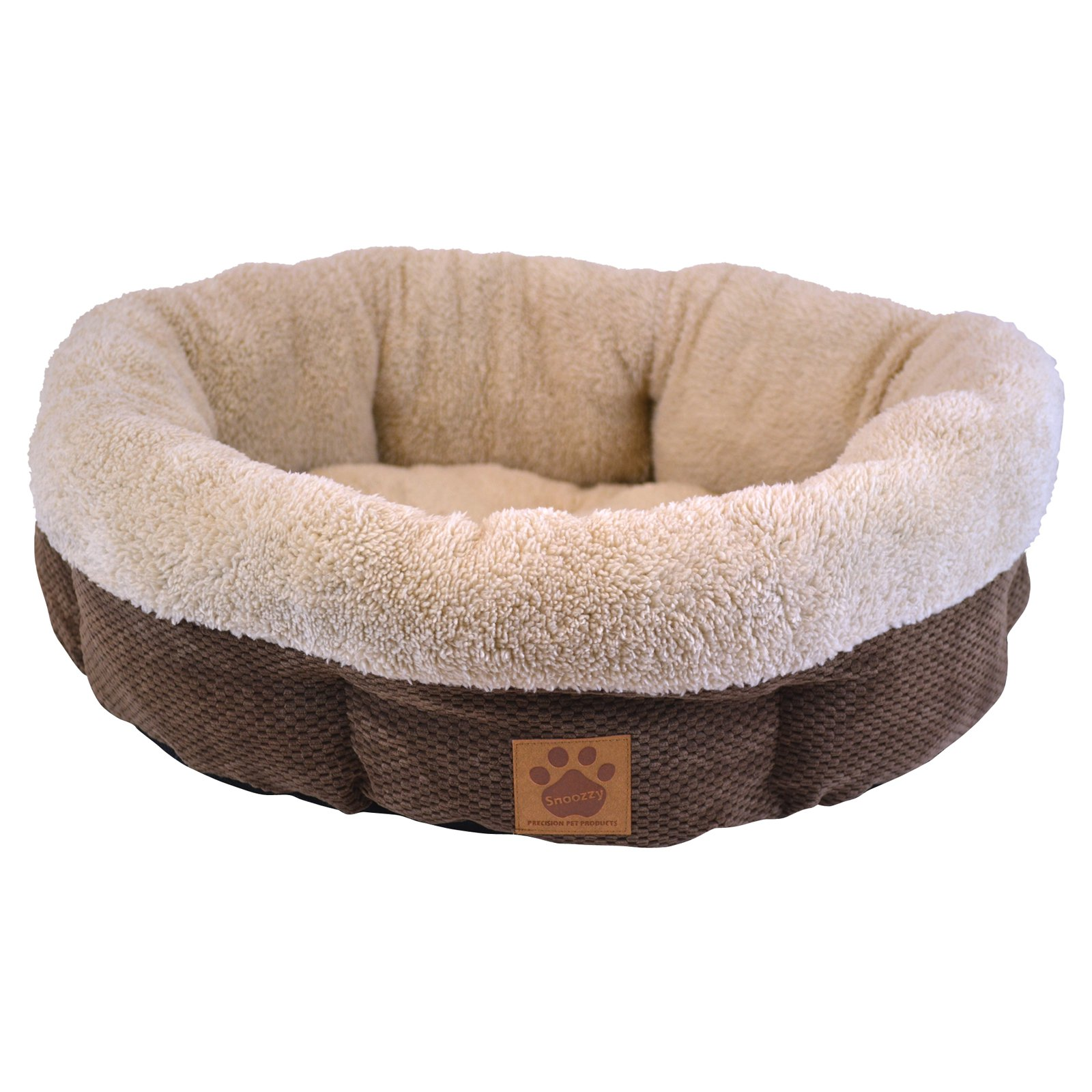 Precision Pets Shearling Round Bed - Coffee