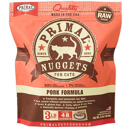 Primal Raw 1-oz Nuggets Pork Formula Raw Frozen Cat Food, 3-lbs