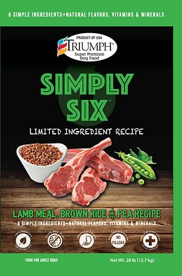 Triumph Simply Six Limited Ingredient Lamb Meal, Brown Rice & Pea Recipe Dry Dog Food