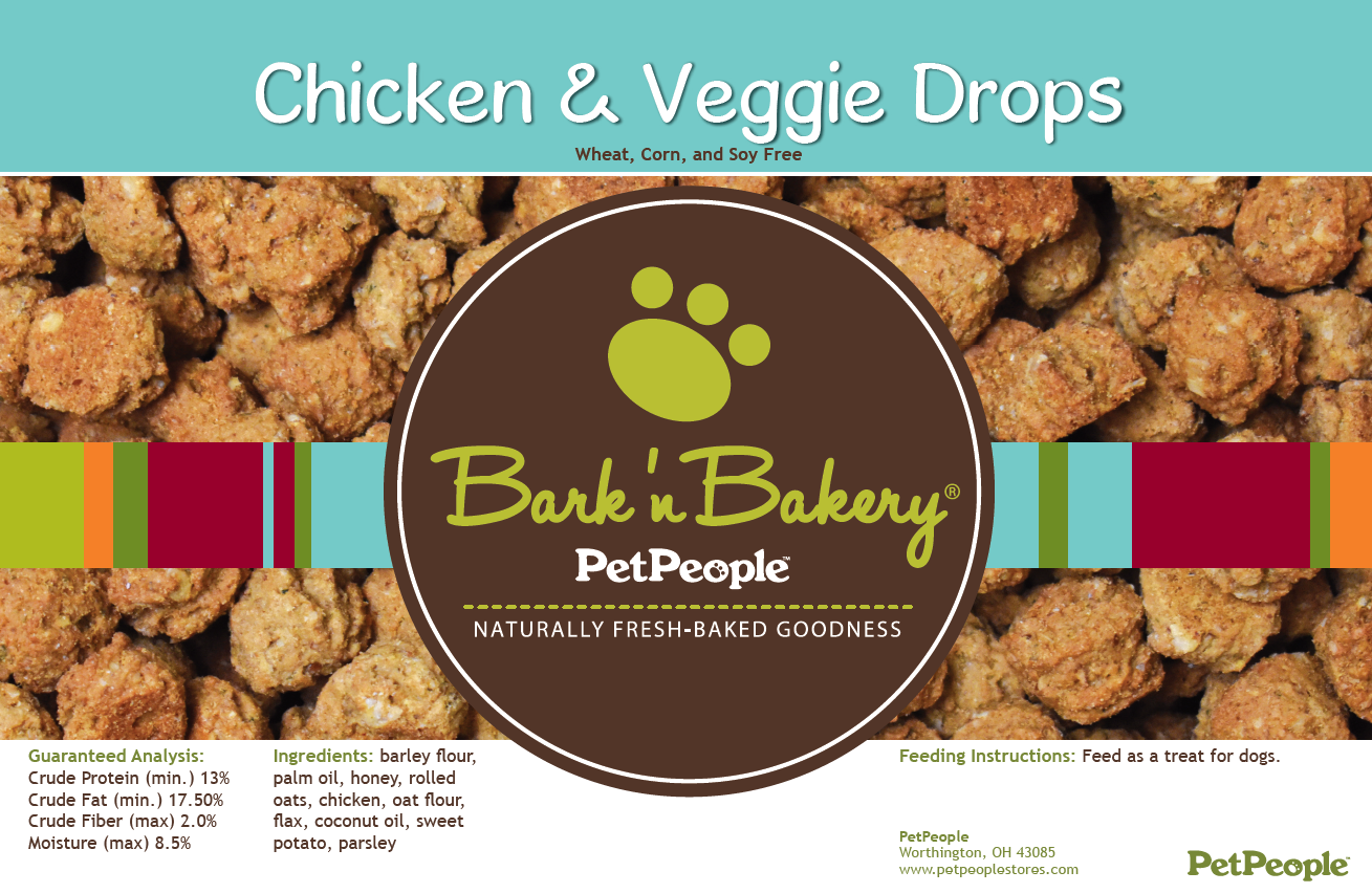 Bark 'n Bakery Chicken & Veggie Drops, 1 Pound