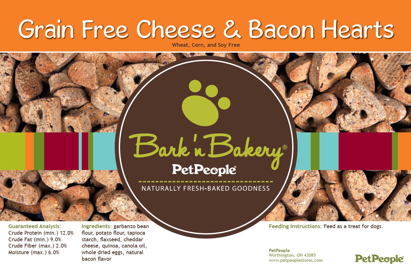 Bark 'n Bakery Grain Free Cheese & Bacon Hearts, 1 Pound