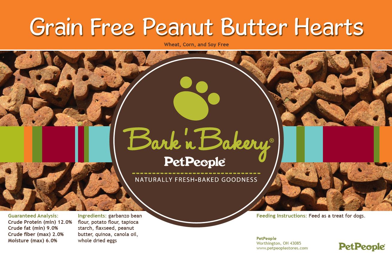 Bark 'n Bakery Grain Free Peanut Butter Hearts, 1 Pound