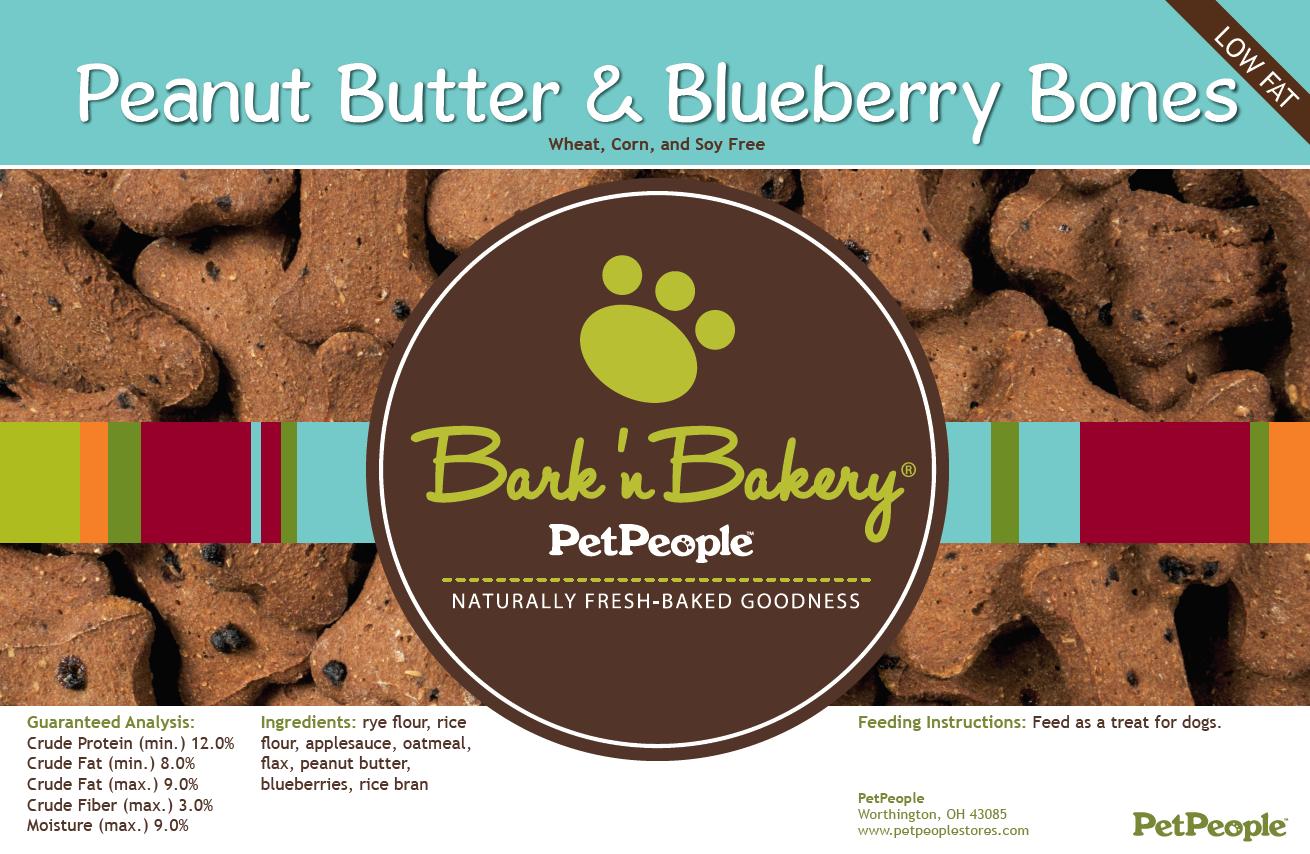 Bark 'n Bakery Peanut Butter & Blueberry Bones, 1 Pound