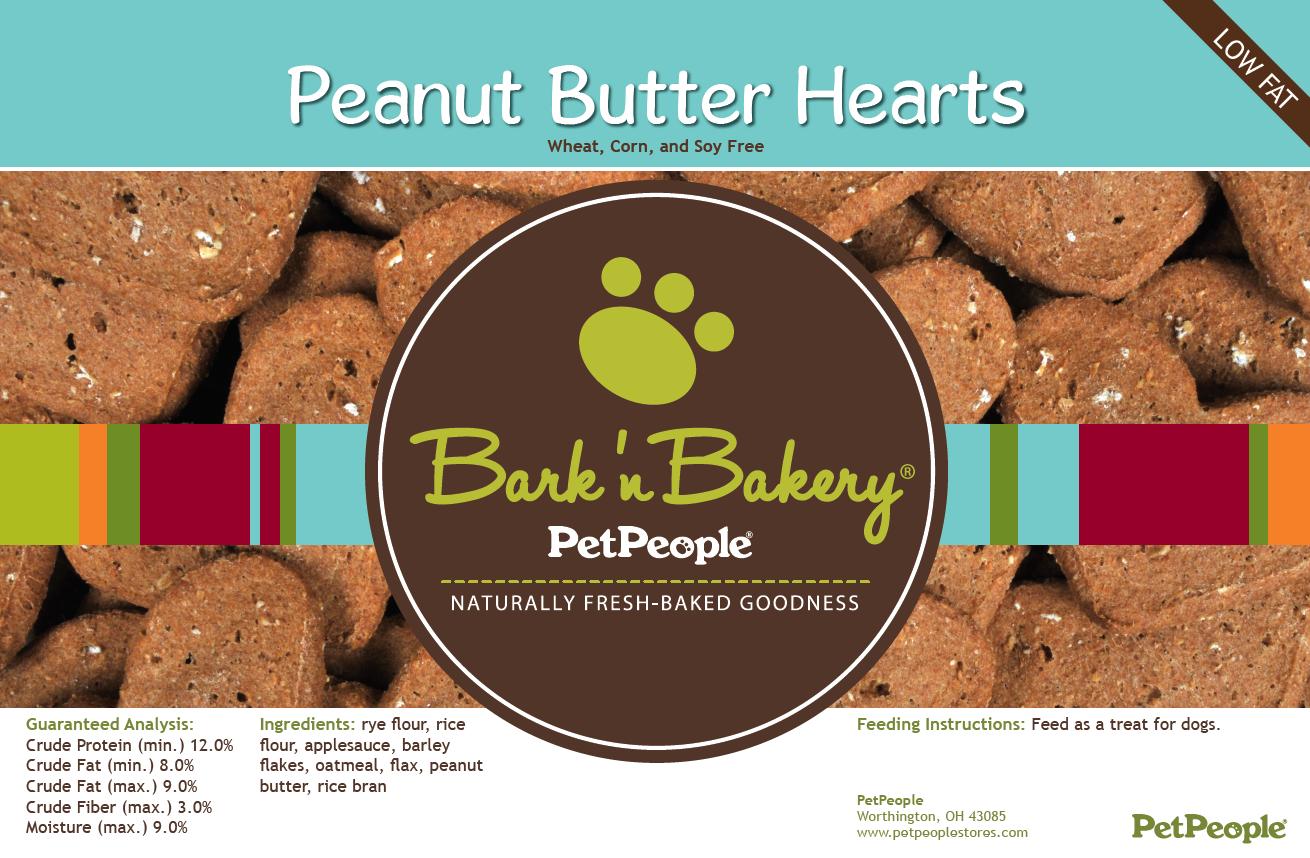 Bark 'n Bakery Peanut Butter Hearts, 1 Pound