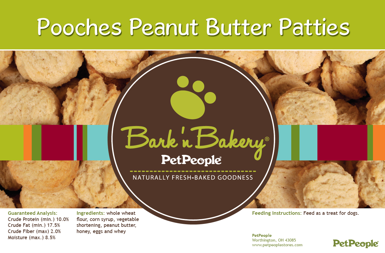 Bark 'n Bakery Pooches Peanut Butter Patties, 1 Pound