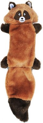 ZippyPaws Zingy No Stuffing 3 Squeaker Plush Dog Toy, Raccoon