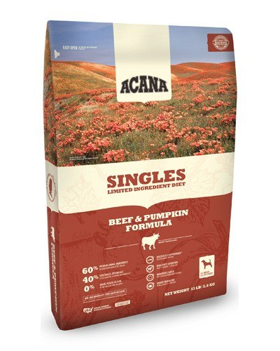 Acana Singles Limited Ingredient Diet Grain Free Beef & Pumpkin Dog Food, 13-lb