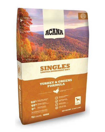 Acana Singles Limited Ingredient Diet Grain Free Turkey & Greens Dog Food, 25-lb