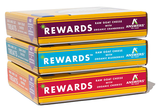 Answers Rewards Raw Goat Cheese with Organic Blueberries Grain Free treats for Cats and Dogs, 8-oz