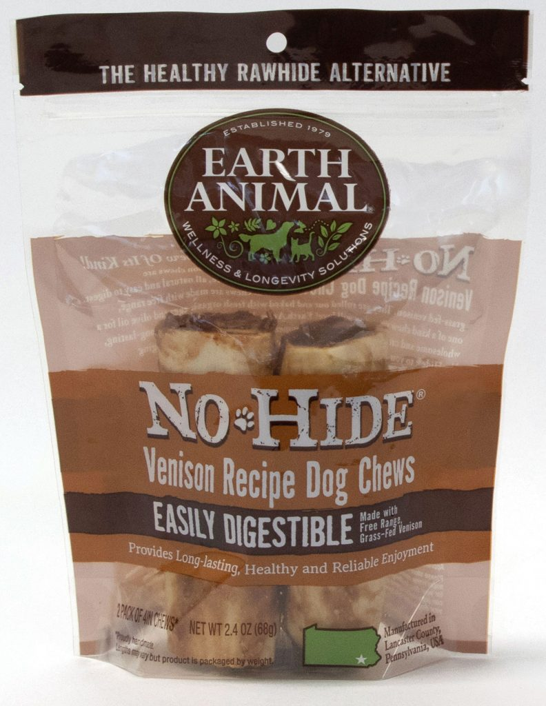 Earth Animal No-Hide Venison Chew Dog Treat, 4-in, 2-pk