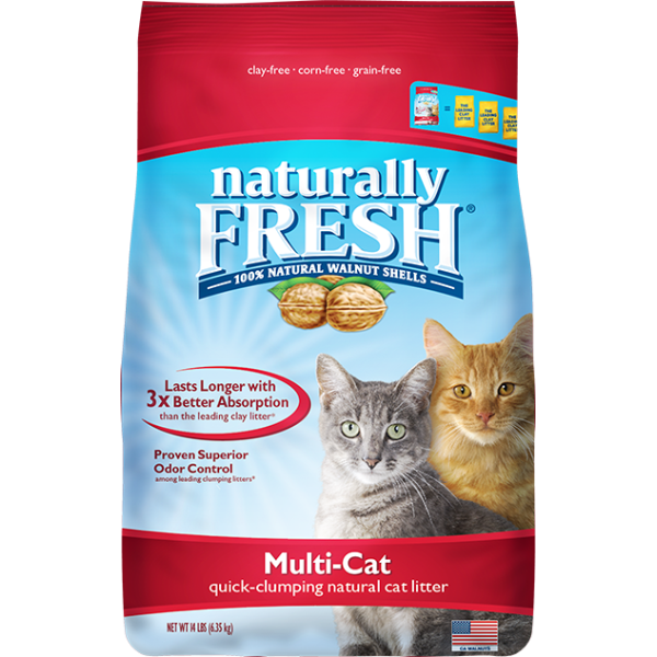 Naturally Fresh Walnut-Based Multi-Cat Quick-Clumping Cat Litter, 14-lb