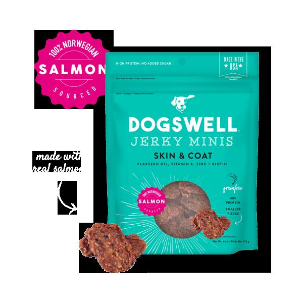 Dogswell Skin & Coat Grain-Free Salmon Mini Jerky Treat