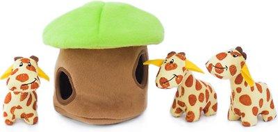 ZippyPaws Burrow Squeaky Hide and Seek Plush Dog Toy, Giraffe Lodge, Puzzle Set