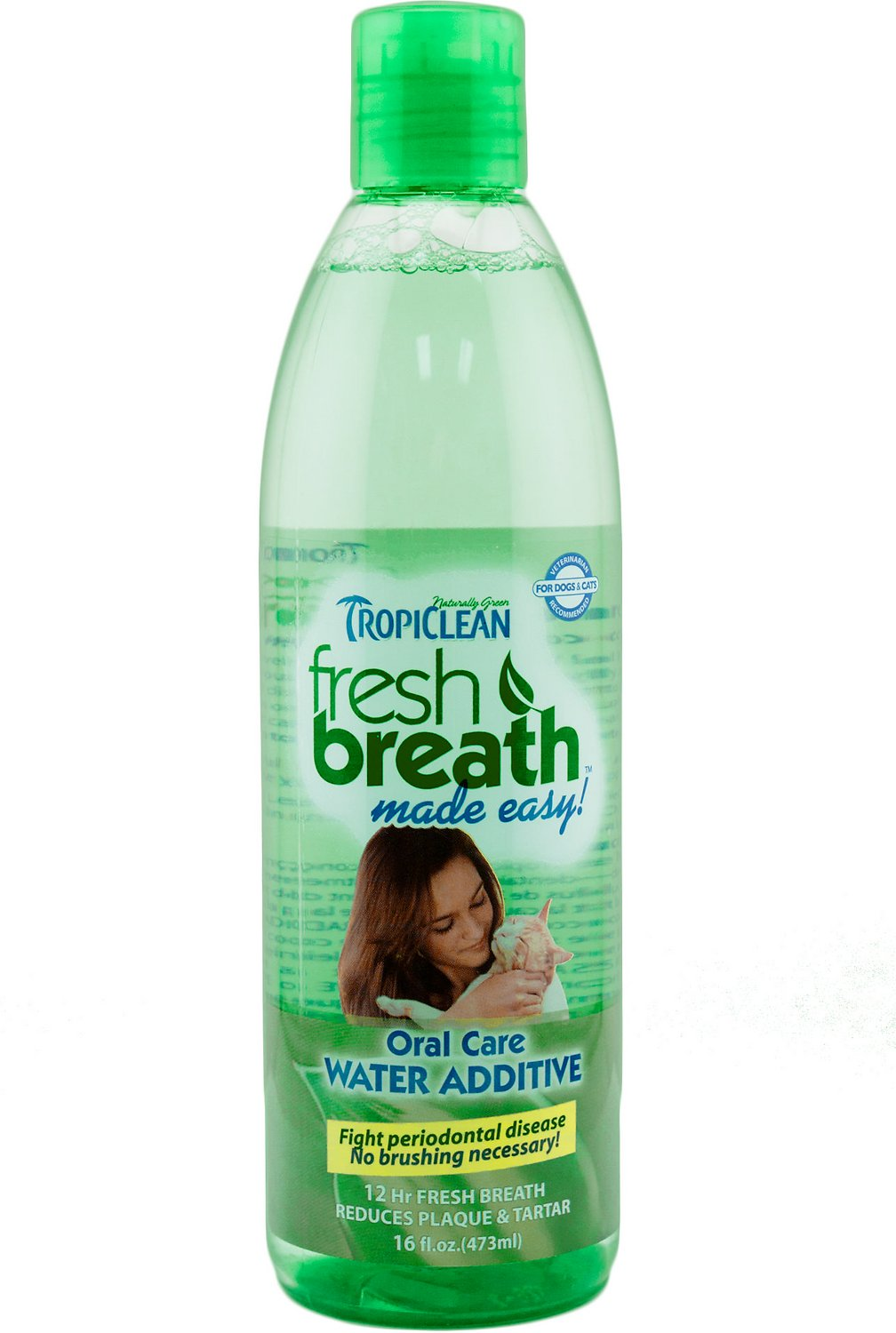 TropiClean Fresh Breath Water Additive For Cats, 16-oz bottle