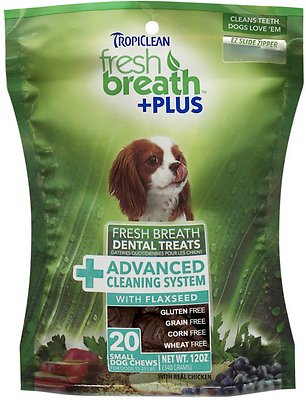 TropiClean Fresh Breath + Plus Advanced Cleaning System Dental Dog Treats, Small, 20 count