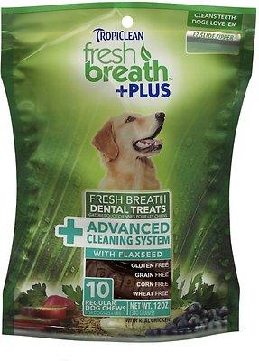 TropiClean Fresh Breath + Plus Advanced Cleaning System Dental Dog Treats, Regular, 10 count
