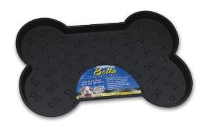 Loving Pets Spill-Proof Bone Shaped Dog Mat, Black, Large, Large